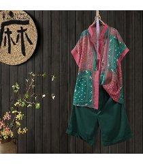 zanzea las mujeres florales de la vendimia impresión botones camisa con las tapas flojas étnico de gran tamaño de la blusa -rojo
