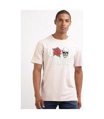 "camiseta masculina good vibes"" caveira manga curta gola careca rosa"""