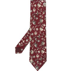 kenzo pre-owned floral-print silk tie - red