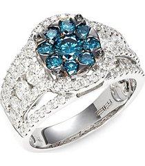 14k white gold & white & blue diamond ring