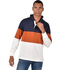 buzo azul tommy hilfiger colorblock hooded rugby