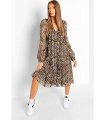 luipaardprint veter midi jurk met ruches, brown