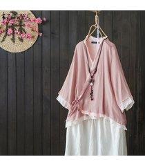 zanzea s-5xl mujeres asimétrica volantes hem tapas de la camisa del cuello de v casaul remata la blusa étnico -rosado