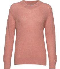 d2. ribbed woolblend crew stickad tröja rosa gant