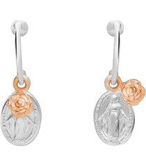 orecchini a cerchio in argento bicolore con pendente madonna e rosa per donna