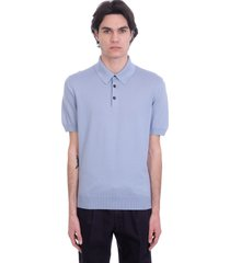ermenegildo zegna polo in cyan cotton