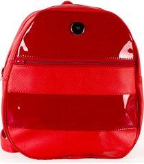 mochila roja eco cuero glam