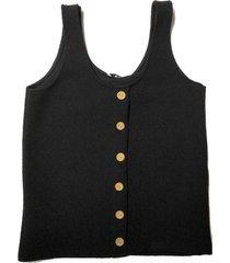 freewear singlet uni knoopjes zwart | freewear zwart