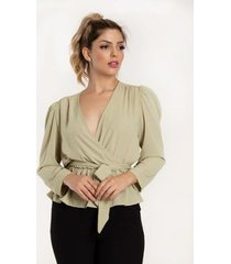 blusa transpassada manga longa crepe - vértice feminina - feminino