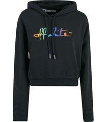 off-white rainbow crop hoodie
