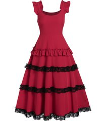 lace up shirred zippered fit and flare rockabilly style vintage dress