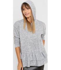 sweater gris destino collection con volados
