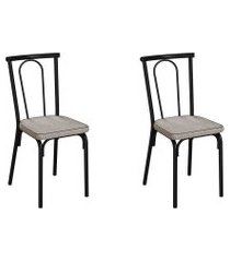 conjunto com 2 cadeiras albury palha e preto