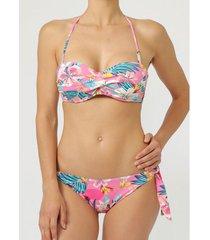 bikini admas roze capri push-up bandeau bikini 2-delig set