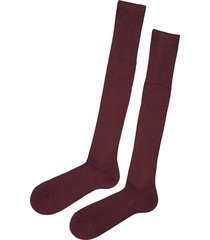 calzedonia - tall ribbed egyptian cotton socks, 42-43, burgundy, men