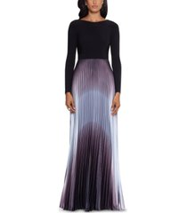 betsy & adam pleated ombre gown