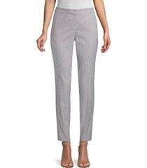 lafayette 148 new york women's manhattan slim mini check pants - seaport multi - size 12