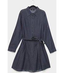 vestido jeans naif manga longa faixa botões plus size