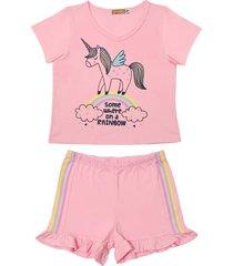 conjunto pijama unicã³rnio rainbow douvelin rosa - rosa - menina - algodã£o - dafiti