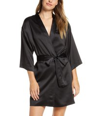women's flora nikrooz victoria satin short robe, size x-small/small - black