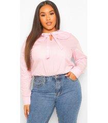 plus large collar tie front blouse, light pink