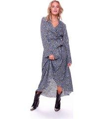 vally maxi leopard blazer collar dress