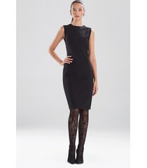 compact knit crepe seamed sheath dress, women's, black, size 14, josie natori