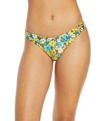 women's l space tanline brazilian bikini bottoms, size small - orange