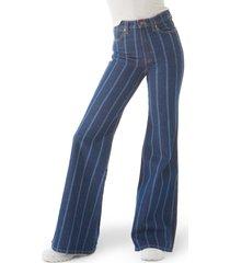 women's wrangler wanderer heritage flare high waist jeans, size 31 x - blue