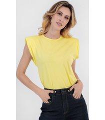 t-shirt bl0001 muscle tee com ombreira traymon amarelo claro - amarelo - feminino - dafiti