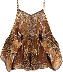 camilla lady lodge silk playsuit - brown