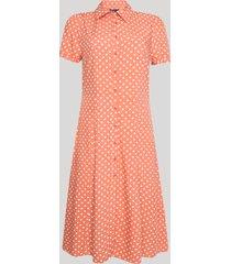 vestido chemise feminino longo estampado poá manga curta laranja