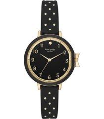 kate spade new york women's park row black dot silicone strap watch 34mm