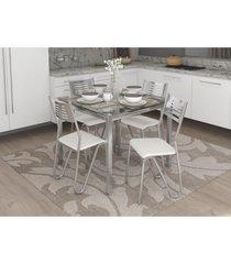 conjunto mesa reno com 4 cadeiras napoles branco e cromado kappesberg crome