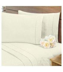 lençol sem elástico cama viúva percal 400fios com vira 35cm palha