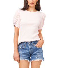 1.state puff sleeve rib knit t-shirt, size xx-small in pink cloud at nordstrom