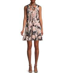 redvalentino women's floral tie-neck silk dress - rose - size 40 (8)