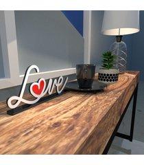 escultura de mesa branco love drawing com coraã§ã£o em acrãlico vermelho ãšnico - multicolorido - dafiti