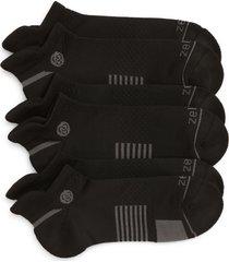 zella men's motion 3-pack ankle socks, size regular in black at nordstrom