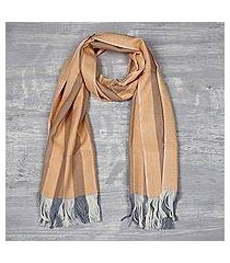 cashmere scarf, 'apricot warmth' (india)