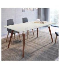 mesa de jantar 4 lugares artesano valentinna 180cm branco fosco