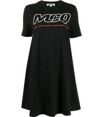 mcq alexander mcqueen logo print babydoll dress - black