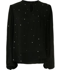 eva crystal embellished blouse - black