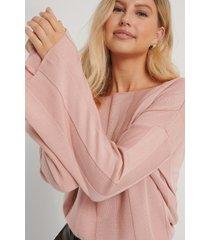 na-kd ribbstickad croppad tröja - pink