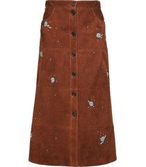 miu miu floral-embroidered crystal-embellished skirt - brown