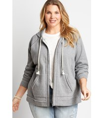 maurices plus size womens heather gray zip up hoodie