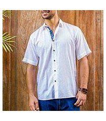 men's cotton shirt, 'white lombok' (indonesia)