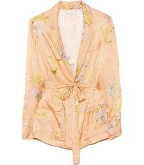 giulietta print viscose cloquet satin pajama jacket in pesca