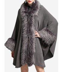 cappotti da mantello da donna irregolari lavorati a maglia in patchwork di pelliccia sintetica