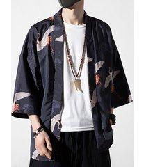 chaqueta de punto con estampado floral de animales de grúa de abrigo de protección solar de estilo chino retro informal para hombre